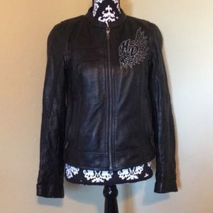 Harley Davidson embroidered leather riding jacket